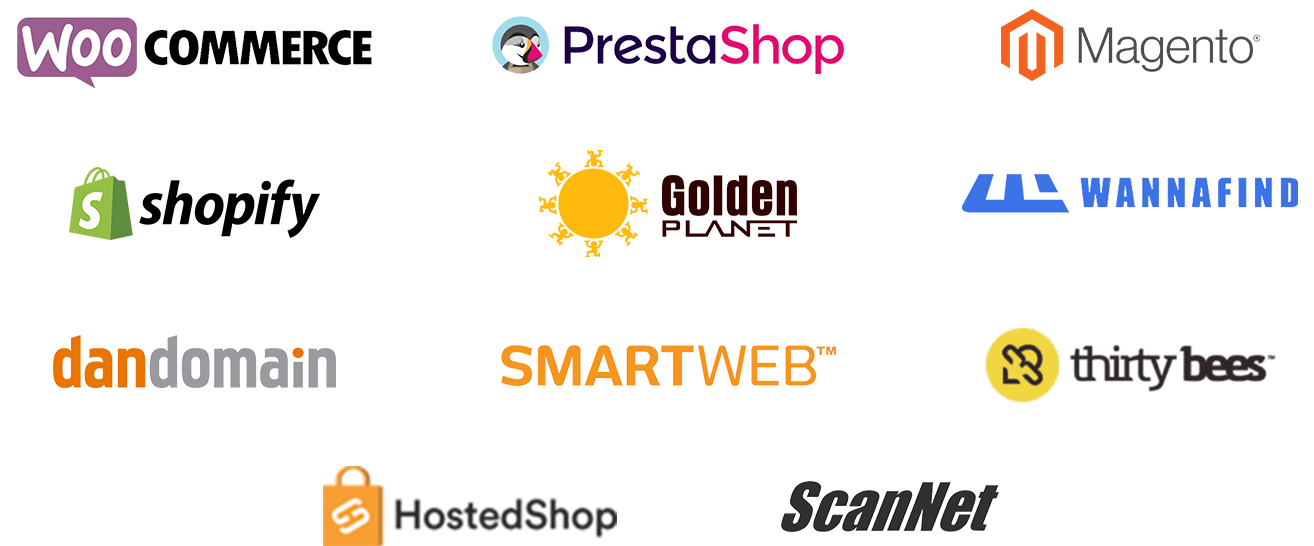Productfeeds for Woocommerce, Prestashop, Magento, ThirtyBees, Dandomain, Wannafind, Golden Planet and many others