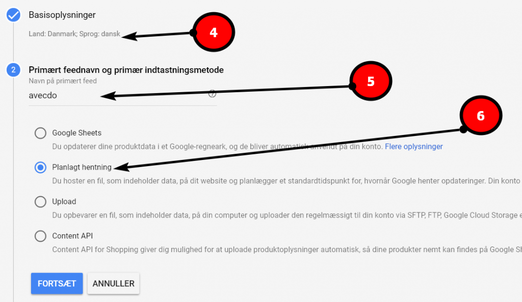 konfigurer feed til google shopping hentning
