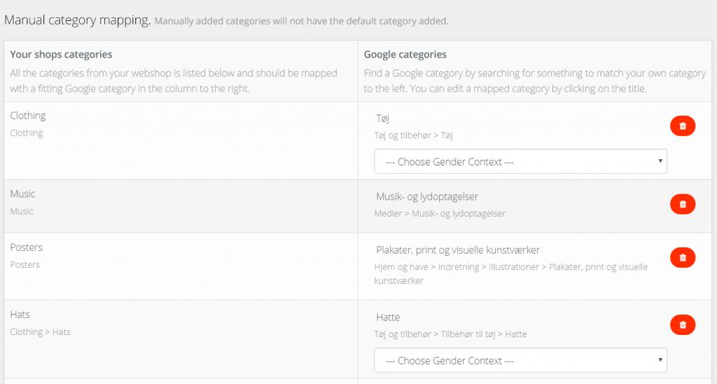 mapping af kategorier til avecdo