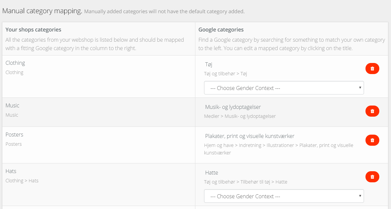 Product feed mapping of categories on avecdo