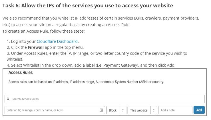 Giv adgang fra cloudflare til IP