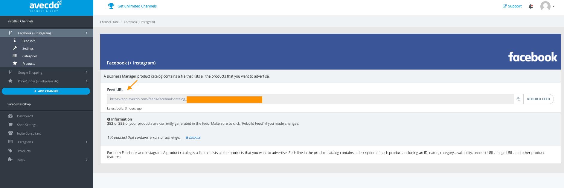 Opret et produktkatalog i Facebook, med dit avecdo product feed
