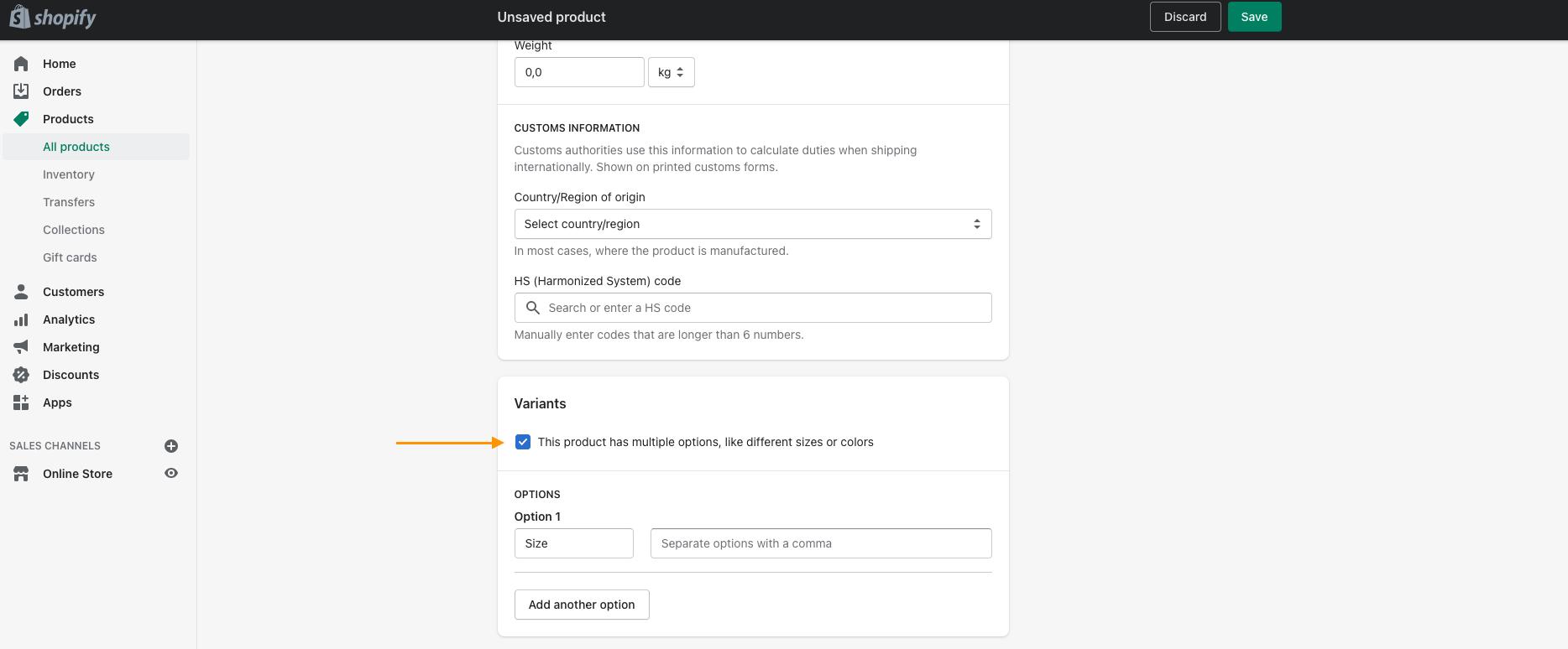 Hvordan indtaster du produkt attributter i Shopify