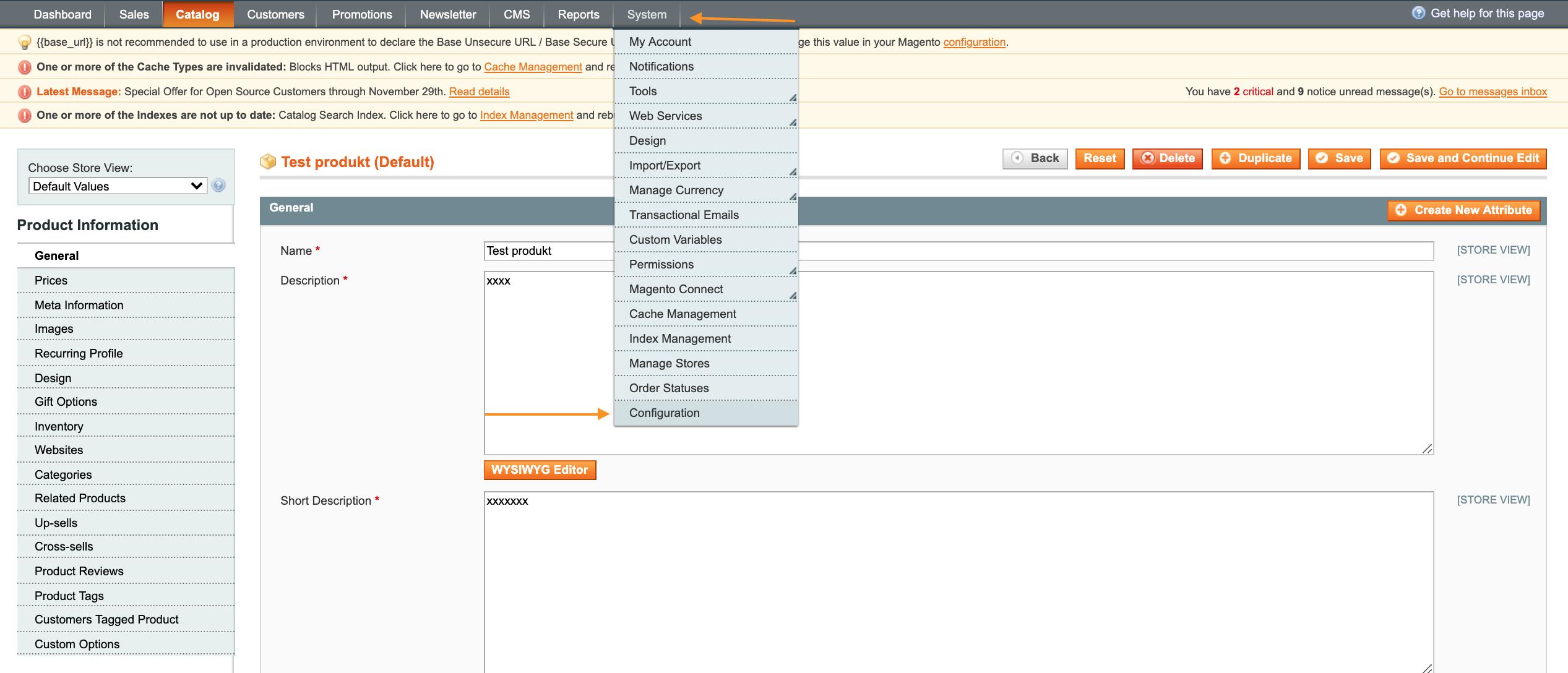 Hvordan indtaster du produkt attributter i Magento